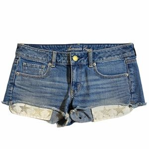 American Eagle Raw Hem Star Festival Shorts Sz 6